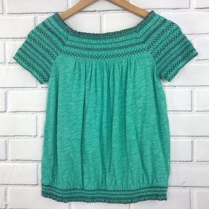 Anthropologie Deletta Embroidered Stitch Crop Top